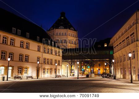 View of Judiciary City in Luxembourg at night