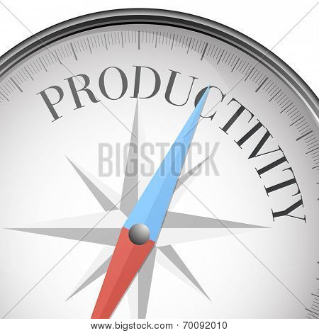 detailed illustration of a compass with productivity text, eps10 vector