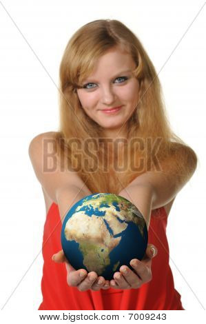 The Young Woman Holds The Globe In Hands