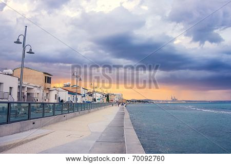 Larnaca Promenade Before The Rain