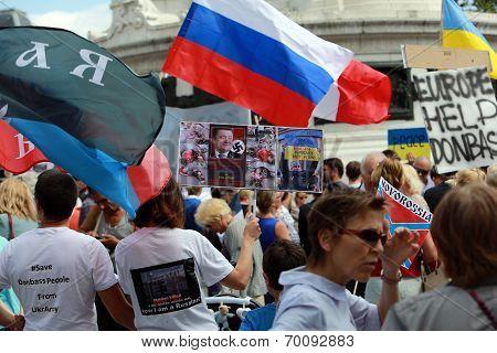 Protest Manifestation Against War In Ukraine In Republic Square Of Paris On Aug. 02. 2014