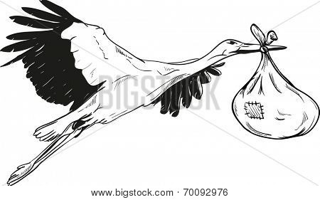 Flying Stork with Baby Bag - isolated on background