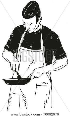 Chef with Frying Pan -isolated on background