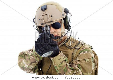 Closeup Of  Soldier With A Gun Isolated On White Background