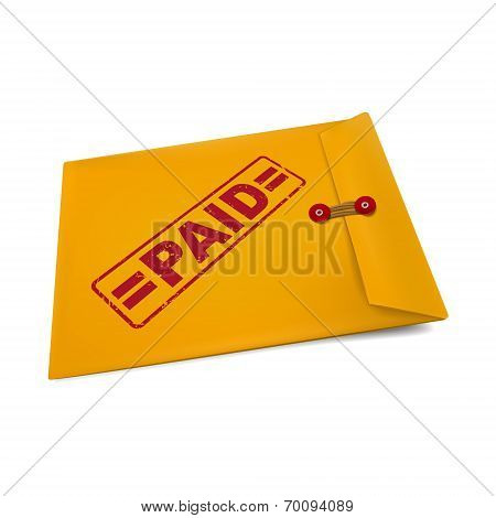 Paid Stamp On Manila Envelope