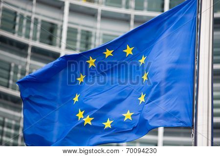 EU flag close up in front of Berlaymont building