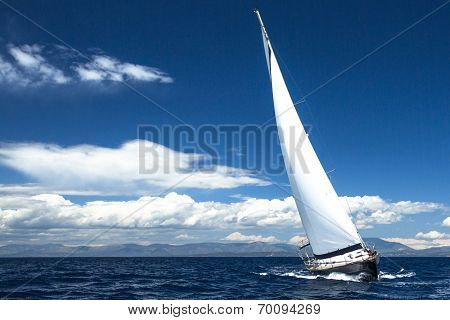 Luxury yachts. Boat in sailing regatta (with space for text)