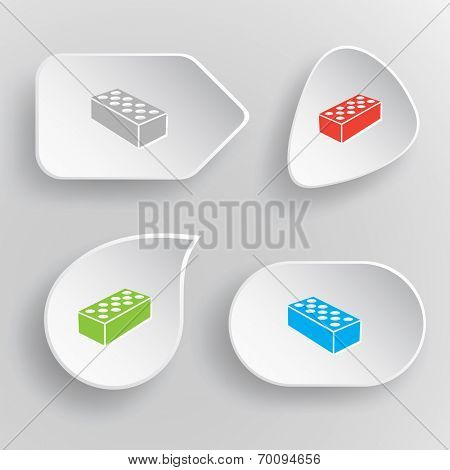 Hollow brick. White flat vector buttons on gray background.