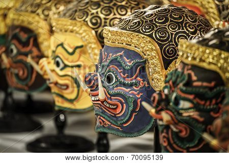 Hua Khon (Thai Traditional Mask) Used in Khon - Thai traditional dance of the  Ramayana Saga