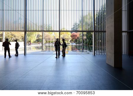 Tokyo, Japan - Nov 22: People Visit Interior Of The Gallery Of Horyuji Treasures In Tokyo, Japan