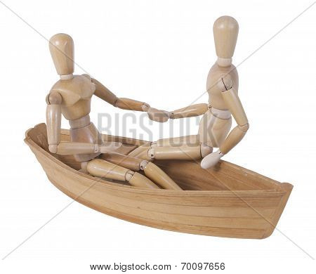 Sitting In Boat Holding Hands