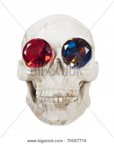 Skull With Gems For Eyes
