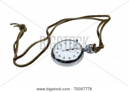 Stopwatch On Leather Cord