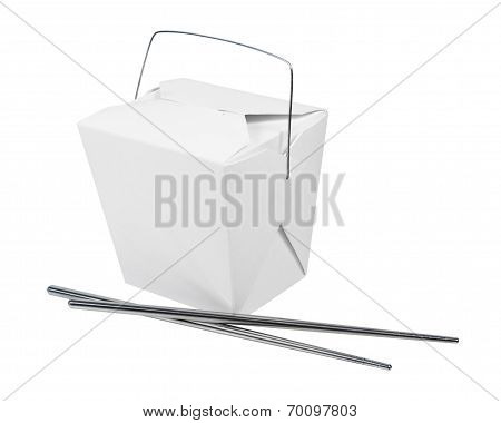 Take Out Box And Metal Chopsticks