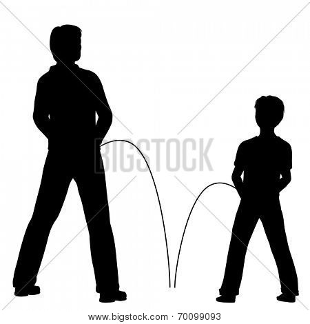 Editable vector silhouettes of a man and boy urinating together