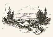 image of lowlands  - Black and white hand drawn landscape - JPG