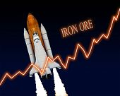 picture of iron ore  - Iron ore rising chart stock market commodity - JPG