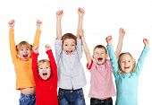 stock photo of crying boy  - Happy children with their hands up isolated on white - JPG