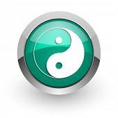 stock photo of ying-yang  - ying yang green glossy web icon  - JPG