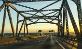 picture of ten  - view of the Baton Rouge bridge on Interstate Ten over the Mississippi River in Louisiana - JPG