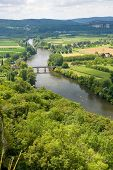 picture of domme  - View over the Dordogne river as seen from the city of Domme - JPG