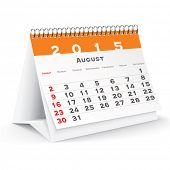 stock photo of august calendar  - August 2015 desk calendar  - JPG