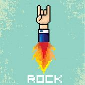 picture of rocking  - vector flat pixel art hand sign rock n roll music on on stylish grunge background - JPG
