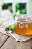 pic of jar jelly  - Homemade mint jelly in glass jar - JPG