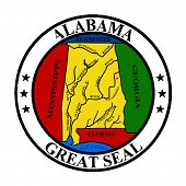 picture of alabama  - The great seal of Alabama isolated on a white background - JPG