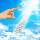 picture of stairway to heaven  - Finger indicates stairway to heaven with clouds and sun - JPG