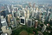 stock photo of petronas towers  - Kuala Lumpur capital of Malaysia cityscape view taken from KL tower - JPG