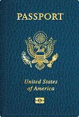 pic of passport cover  - vector blue leather USA passport cover  - JPG