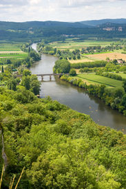 foto of domme  - View over the Dordogne river as seen from the city of Domme - JPG