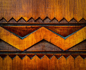 picture of woodcarving  - abstract background or texture detail woodcarving ornament - JPG