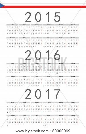 Czech 2015, 2016, 2017 Year Vector Calendar