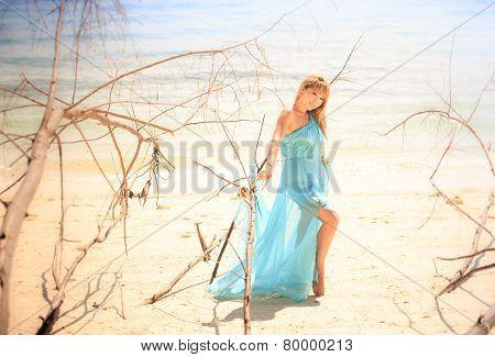Young Happy Asian Girl On Island