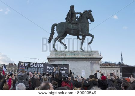 Lyon, France - January 11, 2015: Anti Terrorism Protest. 13