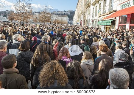 Lyon, France - January 11, 2015: Anti Terrorism Protest. 6