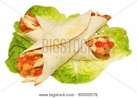 Chicken Filled Tortilla Wraps