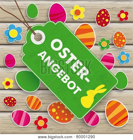 Easter Offer Price Sticker Wood