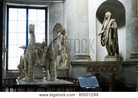 Sculptures Of Horses In Vatican Museum