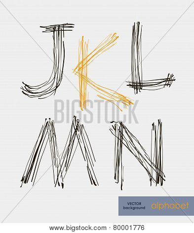 Handwritten Alphabet Letters Vector.  Abc For Your Design.