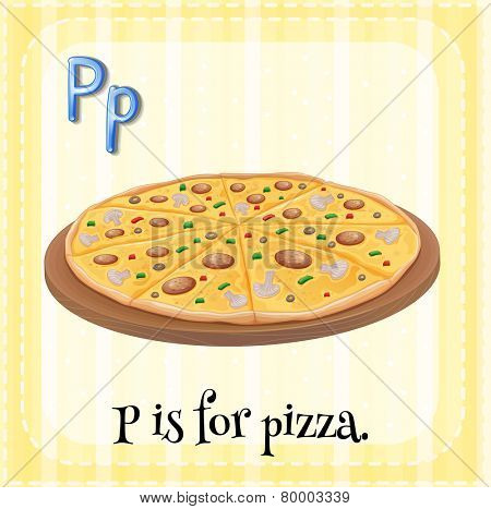 Illustration of an alphabet P is for pizza