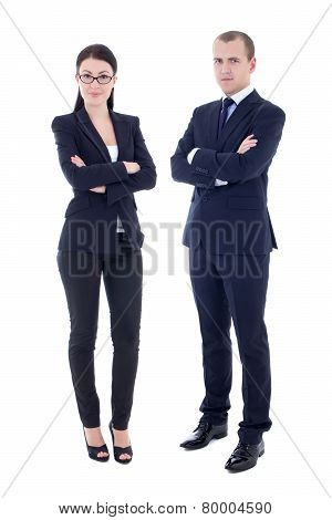 Full Length Portrait Of Young Handsome Man And Beautiful Woman In Business Suits Isolated On White