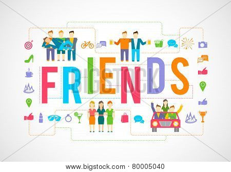 Friends Icons Flat