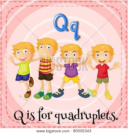 A letter Q which stands for quadruplets