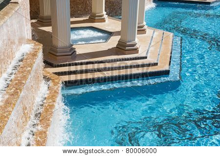 Exotic Luxury Swimming Pool Water, Hot Tub and Architecture Abstract.