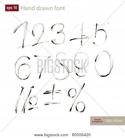 Vector Handwritten Arabic Numerals Set