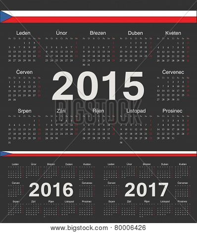 Vector Black Czech Circle Calendars 2015, 2016, 2017