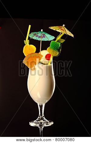 Pina Colada Fresh Coctail Isolated On Black
